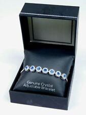 Silver Plated Genuine Blue & White Crystal Bracelet Adjustable Beautiful!