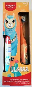 Colgate Llama Powered Toothbrush & Anticavity Fluoride Toothpaste Battery Incl