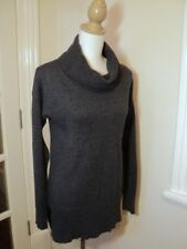 country road grey long jumper fine wool cashmere knit  drapey roll collar