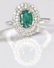 1.55 Carat 14KT White Gold Natural Green Emerald EGL Certified Diamond Ring