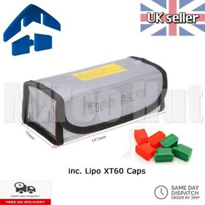 Lipo Safe Bag Fireproof Storage Protecting Battery Charger 18.5*7.5*6cm + CAPS