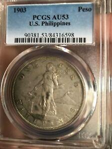 US PHILIPPINES ONE PESO 1903-P PCGS AU 53 NICE LIGHT GOLD TONE