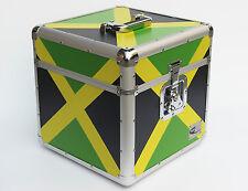 "12"" LP Vinyl Record Strong Aluminium DJ Flight Carry Case Holds 100 Jamaica Flag"