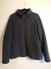 Ladies The North Face Dark Blue Cotton Quilted Full Zip Jacket Size XL / UK 16