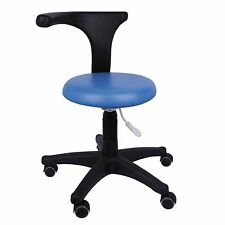 Dental Medical Office Assistant's Stools Adjustable Mobile Chair PU Leather Blue
