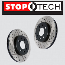 REAR [LEFT & RIGHT] STOPTECH SportStop Drilled Slotted Brake Rotors STR44141
