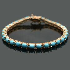 Natural Turquoise Gem 14k Rose Gold Plating 925 Sterling Silver Tennis Bracelet
