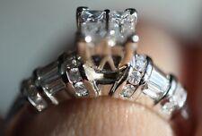 $4,200 1 1/3 Carat Princess Quad Natural Diamond 14K White Gold Engagement Ring!