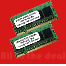 4GB kit 2X 2GB DDR2 SODIMM PC5300 PC2 5300 667 MHz 200pin LAPTOP NOTEBOOK MEMORY