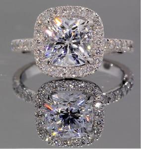 14K White Gold Finish 2 CT Moissanite Engagement Diamond Ring