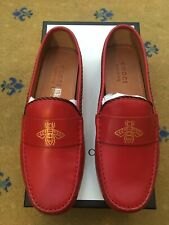New Gucci Mens Shoes Red Leather Loafers UK 9 US 10 EU 43 Kanye Bee Web Drivers