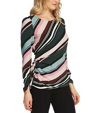 Vince Camuto Women's Side Ruched Windsor Stripe Top Gray Size 4