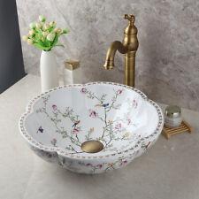 Flower Bathroom Vessel Sink Ceramic Wash Bowl Mixer Antique Brass Tap Set