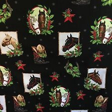 BLACK Holly Jolly Christmas 5 Cowboy boots hat horse 100% cotton fabric by yard