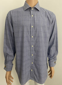 Hawes & Curtis London Blue Check French Cuff Shirt 2 Ply Luxury Cotton 34 EUC