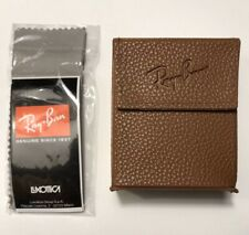 Ray Ban Sunglass Folding Case Brown W/Cloth For Wayfarer Clubmaster AUTHENTIC