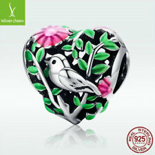 Heart-shaped S925 Sterling Silver Bird In The Woods Charm Bead Fit Stylish Chain