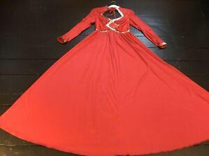 vintage 70's red silver sequin fit flare disco studio 54 valentine maxi  dress