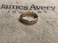 JAMES AVERY 14K Yellow Gold Flower Floral Band, Narrow / Petite Ring ( Size 3.5)