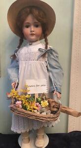 Antique Kestner 136 German Bisque Doll 31 IN Large Kestner Doll As A Flower Girl