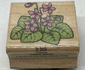 Vintage Wood Rubber Stamp B 565 Violets 1991 Flowers