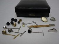 VINTAGE LOT ASSORTED MEN'S TIE TACKS, CLASPS & KNOTTED CUFFLINKS ~W/ JEWELRY BOX