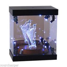 Acrylic Display Case LED Light Box for Swarovski Crystal Harp Dahlia Peony Lotus