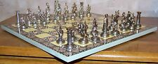 "Metal Ancient Roman Figure & 14""x14"" Compress Wood Board Chess Set"