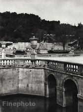 1927 Vintage FRANCE Nimes Jardin de la Fontaine Canal Statue Photo By HURLIMANN