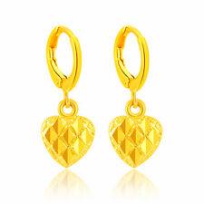 Sweet 24K Yellow Gold Plated Heart  Women Drop Dangle Earrings YjE023