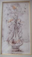 Single Vase of Flowers  Lithograph  pre 1974  by Edna Hibel