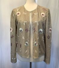 Adrianna Papell Evening 100% Silk Beaded & Embroidered Long Sleeve Jacket Sz 6