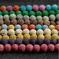 48x Natürliche Stein Lava-Gestein Runde Lose Perlen für DIY Schmuck machen 8mm