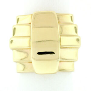 Vintage 14k Gold Kieselstein Cord Wide Geometric Grooved Pyramid Step Band Ring