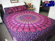 AU CLEARANCE SALE Pink Peacock QUEEN Mandala Quilt Doona Cover Pillow Case