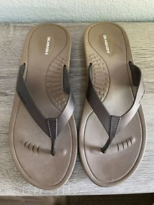 Okabashi Women's Thong Flip Flops Sandals Slip On Size M/L Brown Comfortable