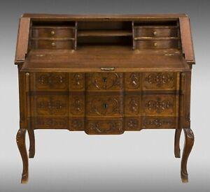Desk bureau. Carved oak, metal. 19th-20th centuries.
