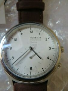 Mondaine Helvetica  Brown Leather Watch  MH1.R2010.LG,40mm with defect