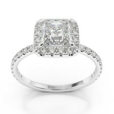 Princess Cut 9k White Gold Rings 1.27 Carat VVS1/D Diamond Engagement Ring Size
