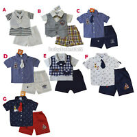 New Baby Boys Tuxedo Vest, Polo Shirt, Pants outfit Size 0 3 6 9 12 months
