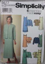 Simplicity 5677 Sewing Pattern Misses Dress Jacket Plus Size 14 16 18 20 22 FF