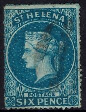 ST HELENA 1861 QV 6D WMK STAR ROUGH PERF USED