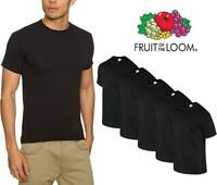 5 Pack Pain Black T Shirt Fruit of the Loom Cotton Tee Shirt S to 5XL