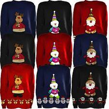 Kinder 3d Teddy Kurios Kinder Weihnachten Unisex Winter-Strickpullover 5-10Jahre