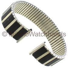 18mm Hirsch Black/Silver TwoTone Romunda Stainless Steel Twist-O-Flex Watch Band
