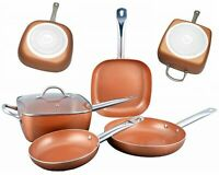 5PC STAINLESS STEEL COPPER FRYING PAN SET NON STICK HIGH QUALITY COOKWARE