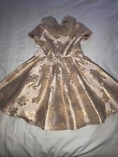 NEW-Girls MONSOON Gold Jacquard faux fur party dress 3-4 yrs CHRISTMAS/WEDDING