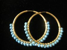 """HOOP EARRINGS WITH DESIGNS & TURQUOISE ROUNDS AROUND 1 1/2"""" IN SIZE GOLD PLATED"""