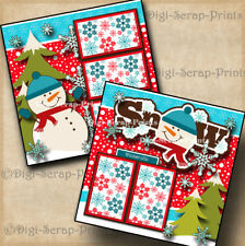 SNOW WINTER 2 premade SCRAPBOOK pages paper piecing SNOWMAN LAYOUT BY DIGISCRAP