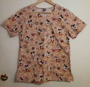 Disney Mickey Floral Nurse Scrubs Sz Small Top Shirt Brown with Flowers